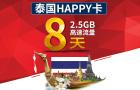 泰国happy电话卡(8天不限流量/100分钟通话)