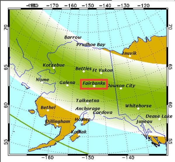 费尔班克斯 游记                    而冰岛,芬兰,有可能极光光带转