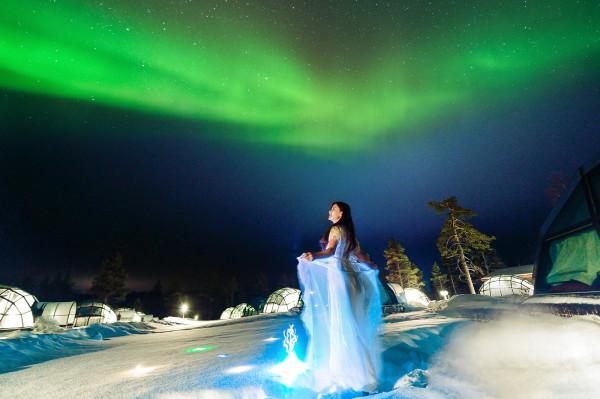 芬兰极光之旅:欧若拉的裙摆图片