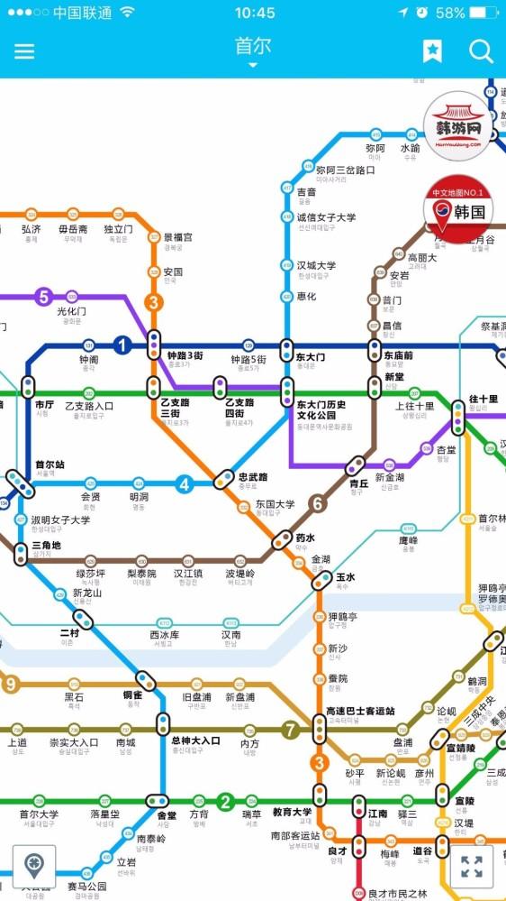 谁能发个韩国首尔地铁线路图啊!