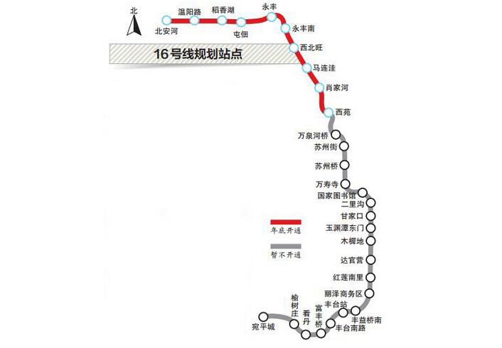 北京地铁16号线年底开通,率先开通10站图片