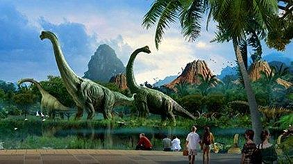 森林实景的恐龙漂流